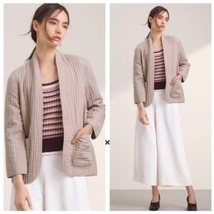 Aritzia Wilfred Nogent Quilted Tan Open Jacket